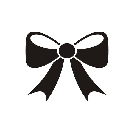 Black vector bow icon isolated on white background