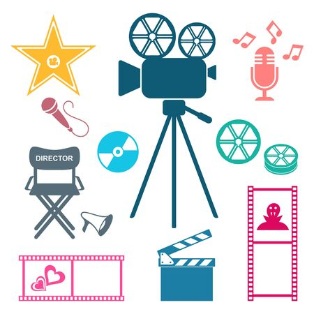 Colorful retro vector movie and music icons isolated