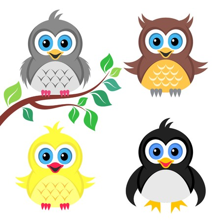 Cute colorful vector owl pigeon chicken and penguin