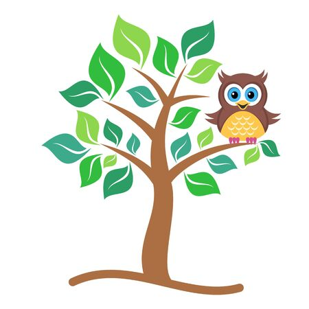 green cute: Cute vector single colorful owl sitting on tree Illustration
