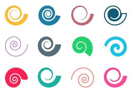 Set of colorful spiral icons on white background