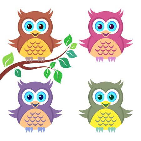 Set of four cute funny colorful owls isolated