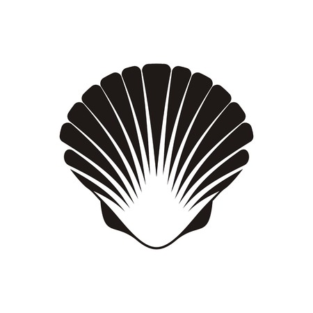 scallop: Black vector scallop seashell icon on white background