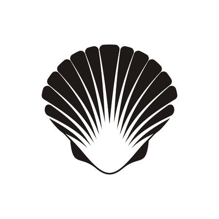 Black vector scallop seashell icon on white background