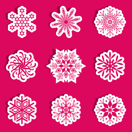 Different red and white vector snowflakes with shadow Vector