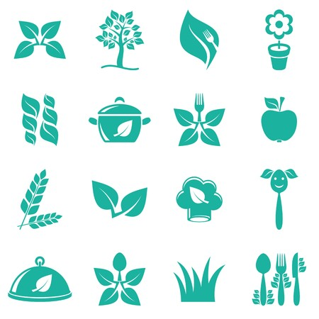 Green vector vegetarian food icons on white background