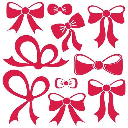 分離された別の装飾的な赤いベクトル弓のセット