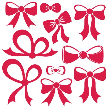 Set of different decorative red vector bows isolated