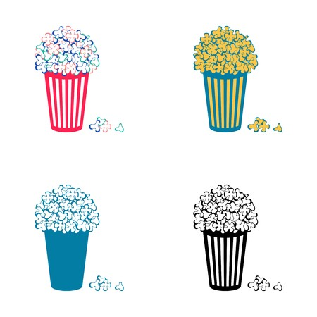 Set of four different vector popcorn icons isolated Vector