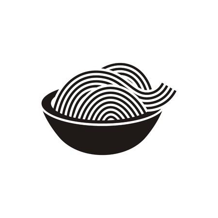 分離されたスパゲティやヌードルの単純な黒のベクトル アイコン