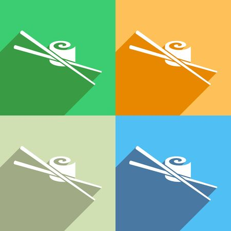 sushi set: White vector sushi icon colorful backgrounds long shadow