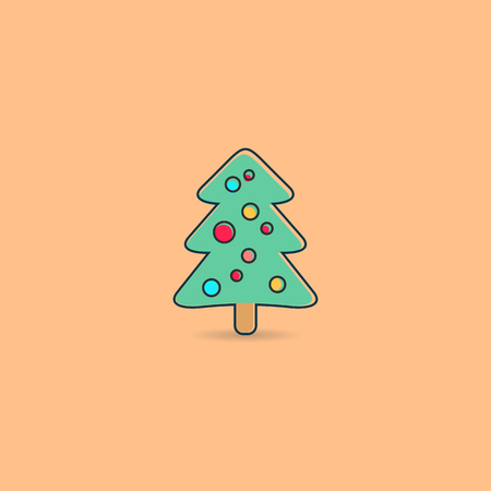 apricot tree: Apricot vector christmas greeting card with christmas tree Illustration