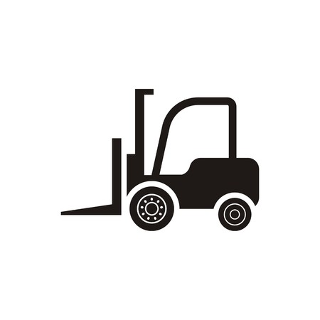Black vector forklift truck icon on white background