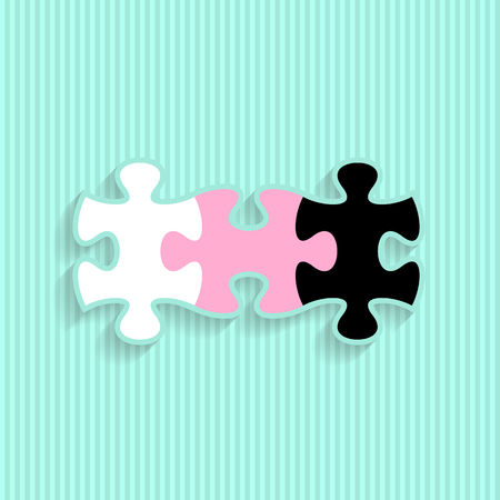are joined: Simple wedding invitation with three joined puzzle pieces