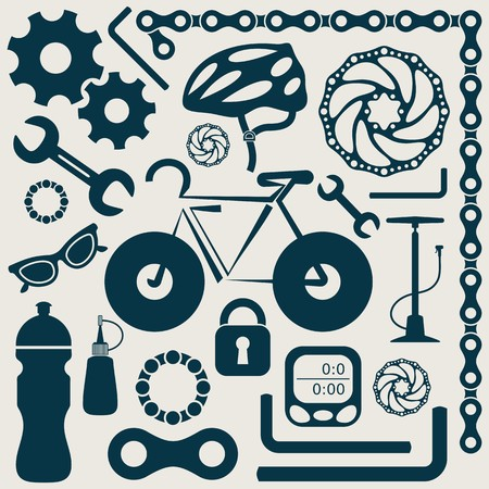 bicycle wheel: Bike tools equipment and accessories retro icons