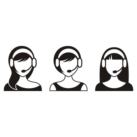 handsfree: Black support or call center woman icons