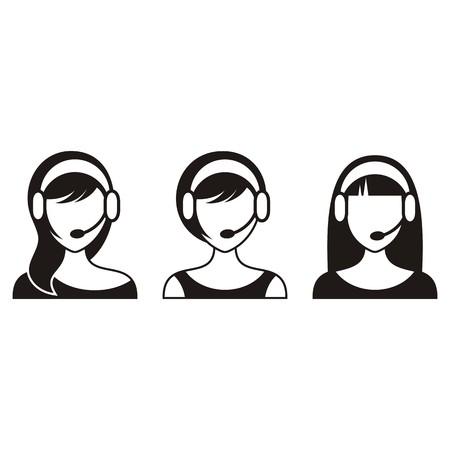 call center woman: Negro de apoyo o de call center mujer iconos Vectores
