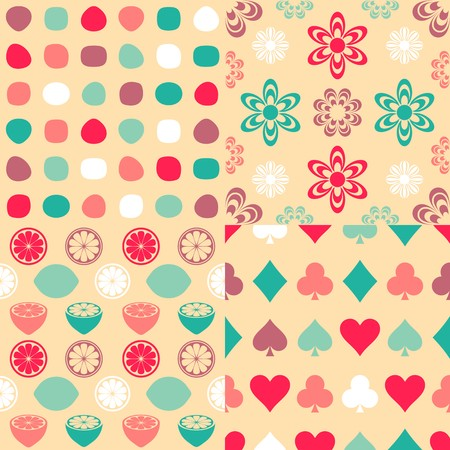 seamless retro colorful patterns collection Vector