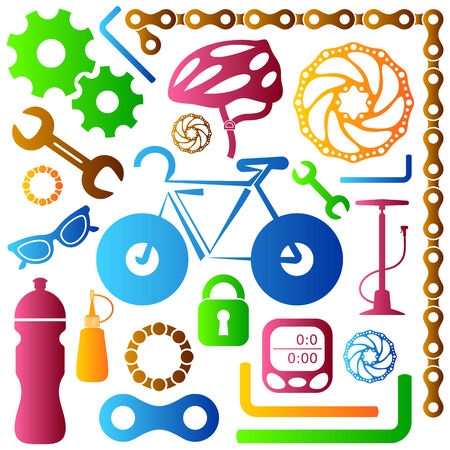 oilcan: Bike tools equipment and accessories colorful vector icons