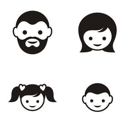 simbolo de la mujer: Conjunto de cuatro iconos de la cara miembro de la familia negro Vectores