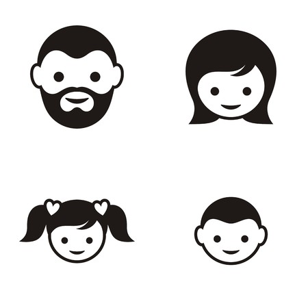 Set of four black family member face icons