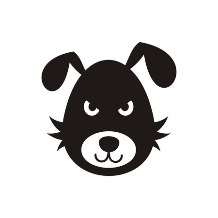 intimidating: Simple black bad dog icon isolated vector illustration