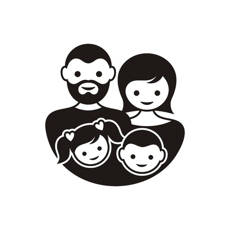 black family: Simple black family symbol with parents and children
