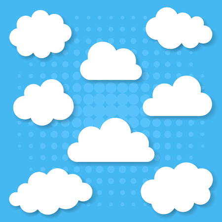 cloudy cartoon: Different white clouds collection with transparent shadows Illustration
