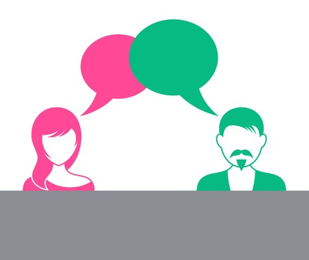 Man and woman with speech bubbles discussion symbol Vector