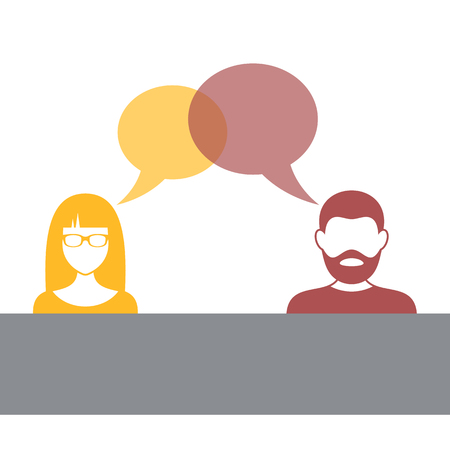 Man and woman with speech bubbles illustration Illustration