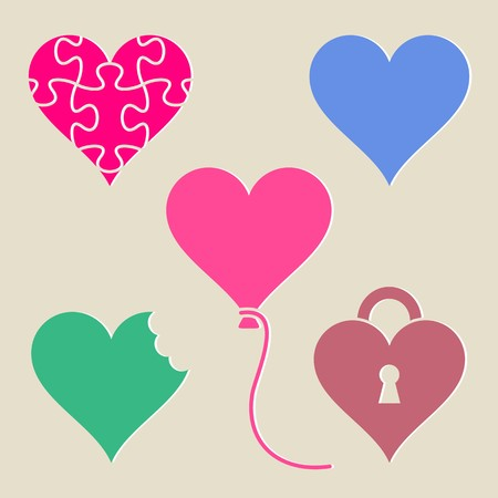colorful heart: Set of different colorful heart icons isolated Illustration