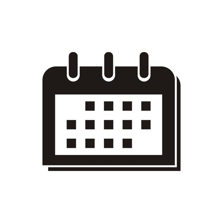Simple black calendar icon isolated on white