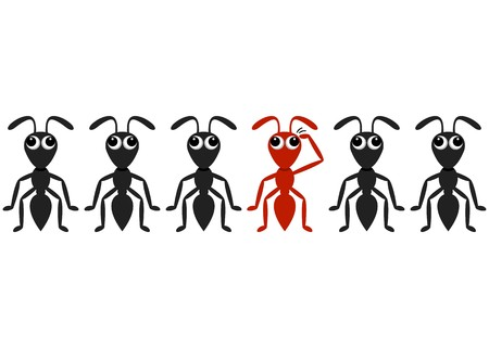 majority: Black ant cartoon characters row with red one Illustration