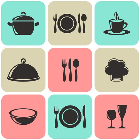 Cooking and restaurant menu icons retro squares collection