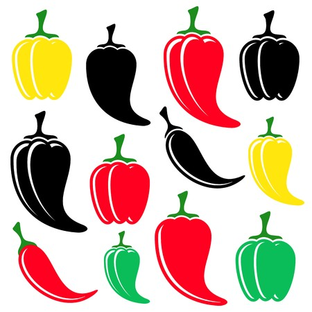 capsaicin: Different vector colorful and black peppers collection isolated