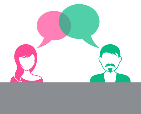 Man and woman with speech bubbles dialog symbol Ilustracja