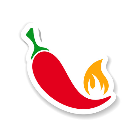 cayenne pepper: Vector red hot chili pepper with flame sticker