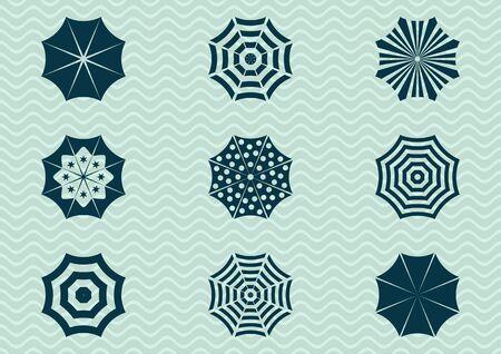 sonnenschirm: Satz von verschiedenen Sonnenschirm Silhouette Icons