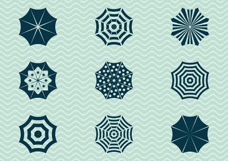 beach umbrella: Set of different sun umbrella silhouette icons