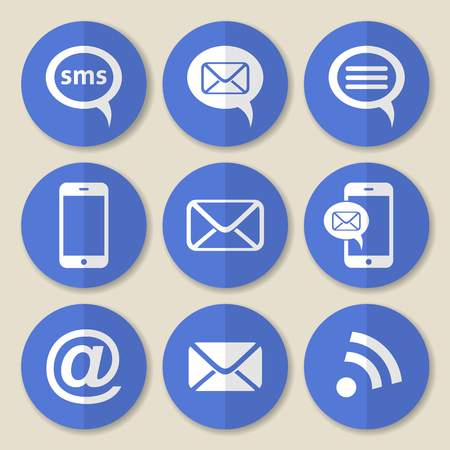 blue buttons: Vector communication flat icons on round blue buttons