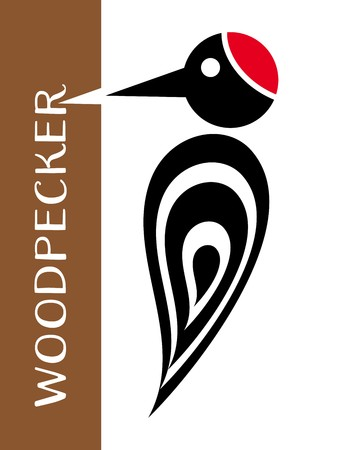 knock: Vector stylized woodpecker icon with tree and lettering