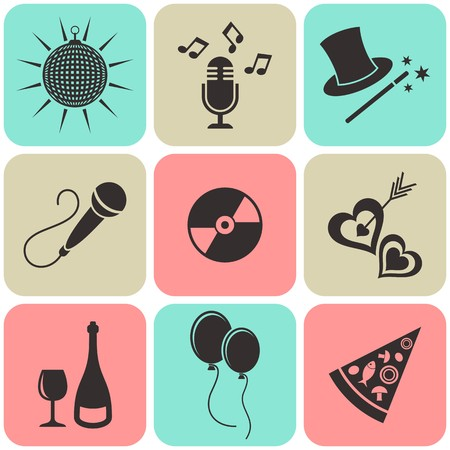 Party and entertainment icons retro squares colorful collection Vector