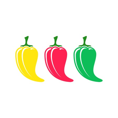 Red green yellow vector chilli pepper icons isolated Vector