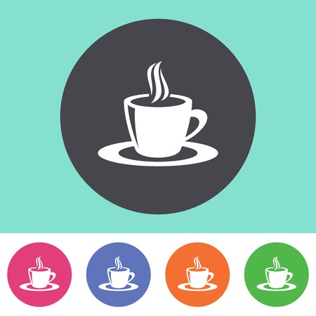Vector coffee cup icon on round colorful buttons