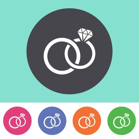 anillo de compromiso: Vector anillos de boda icono en botones coloridos redondos
