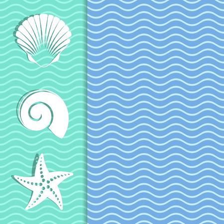 빈티지 카드 바다 아이콘 및 물결 모양 배경