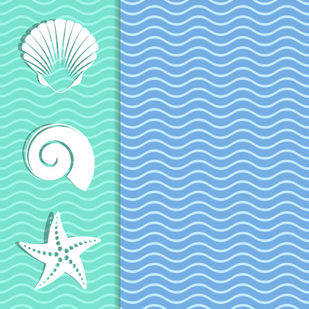 Vintage card with sea icons and wavy background 向量圖像