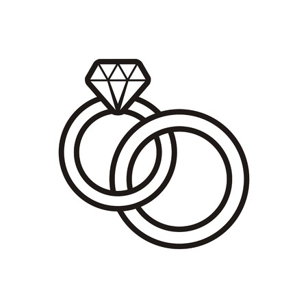 ring finger: Black vector wedding rings outline icon on white