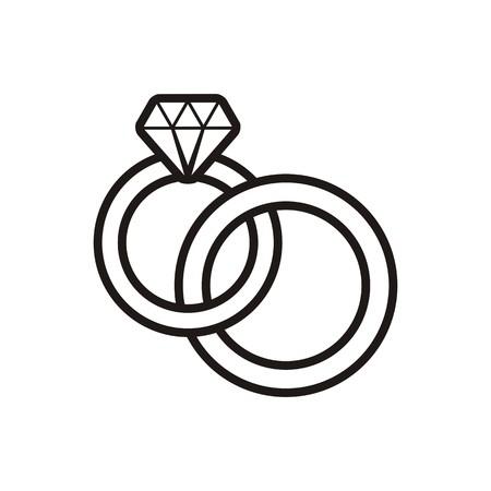 manos unidas: Negro boda vector anillos icono del contorno en blanco Vectores
