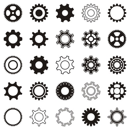 Different black gear wheel icons on white background